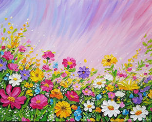 Wildflowers of Spring, Oil on Canvas by JessicaTHamilton