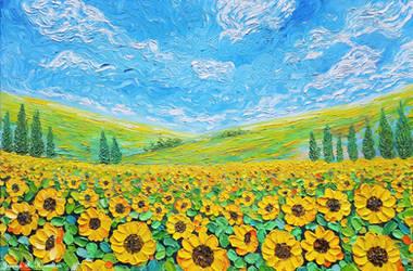 Sunflower Field, Oil on Canvas by JessicaTHamilton