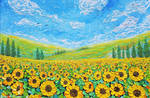 Sunflower Field, Oil on Canvas