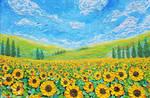 Sunflower Field, Oil on Canvas