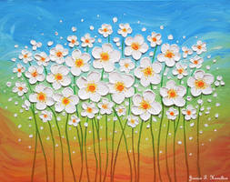 Dancing Daisies, Oil on Canvas by JessicaTHamilton