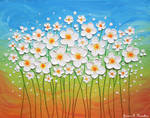 Dancing Daisies, Oil on Canvas