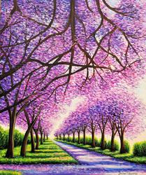 Jacaranda Road, Acrylic on Canvas, 20x24
