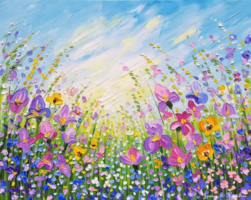Iris Garden 16x20 Oil on Canvas