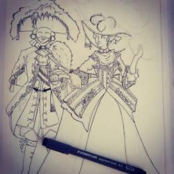 Venetian costumes - watercolor