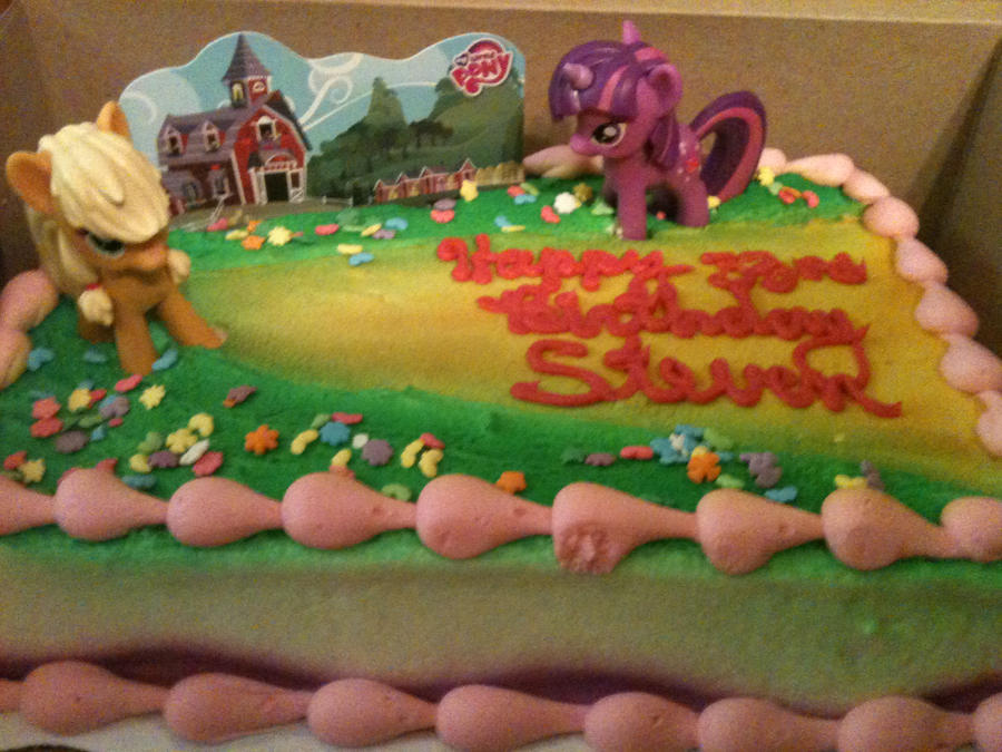 Pony Birthday Cake Front View By Roygbiv Mlp On Deviantart