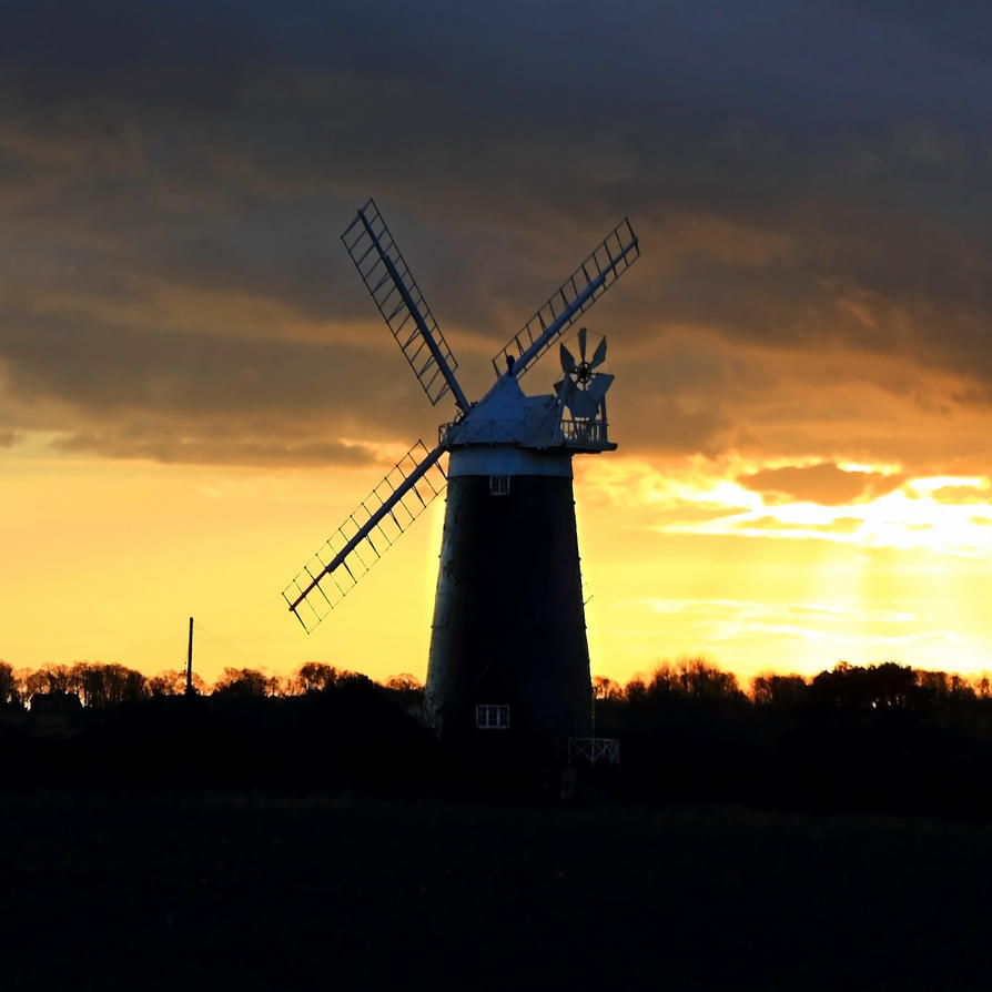 WINDMILL AND SUNSET by BlonderMoment