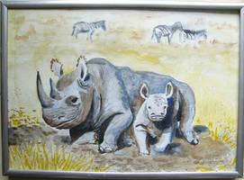 Rhinoceros watercolor by gosia-jasklowska