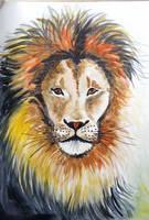 Lion watercolor by gosia-jasklowska