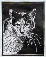 linocut - portrait of a cat Bialka by gosia-jasklowska