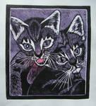 linocut - kitten