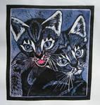 Linocut - blue kitten