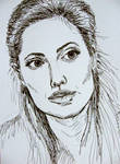 Portrait of Angelina Jolie - ink drawing