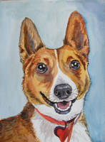 Dog - watercolor by gosia-jasklowska