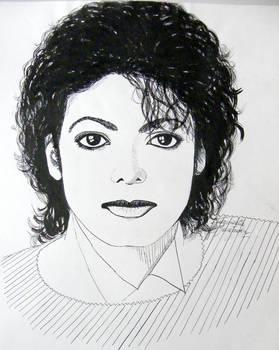 Michael Jackson portrait - ink drawing