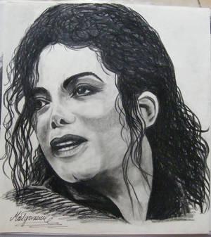 Michael Jackson portrait - carbon drawing