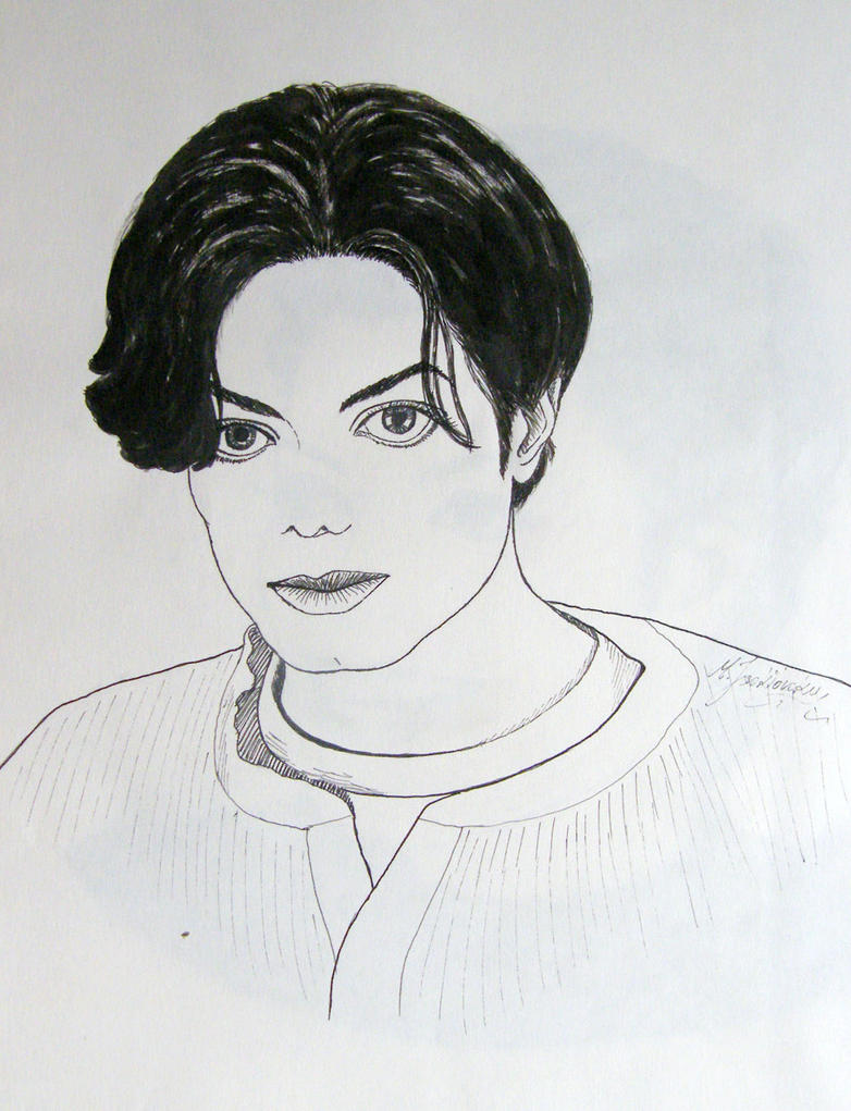 Michael Jackson portrait - ink drawing by gosia-jasklowska ... Michael Jackson Drawings Easy