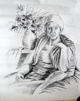 A woman with flowers - carbon drawing