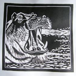 Linoryt Marzec14 Hipopotam - linocut