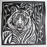 Linocut tiger