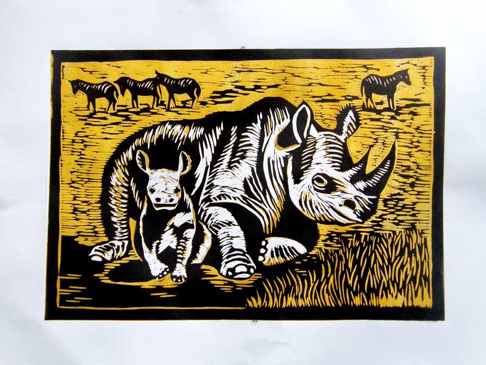 Nosorozec - rinoceros color linocut