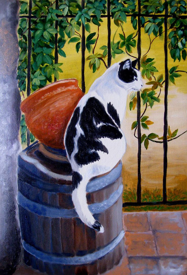 Patryk cat on a barrel - oil painting by gosia-jasklowska