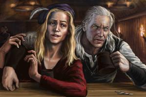Geralt and Dandelion in tavern by Bathorygen