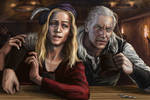 Geralt and Dandelion in tavern by Bathorygen
