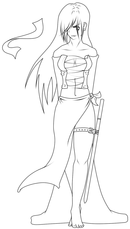 Line Art Ninja : Ninja chick lineart by xxffviixx on deviantart