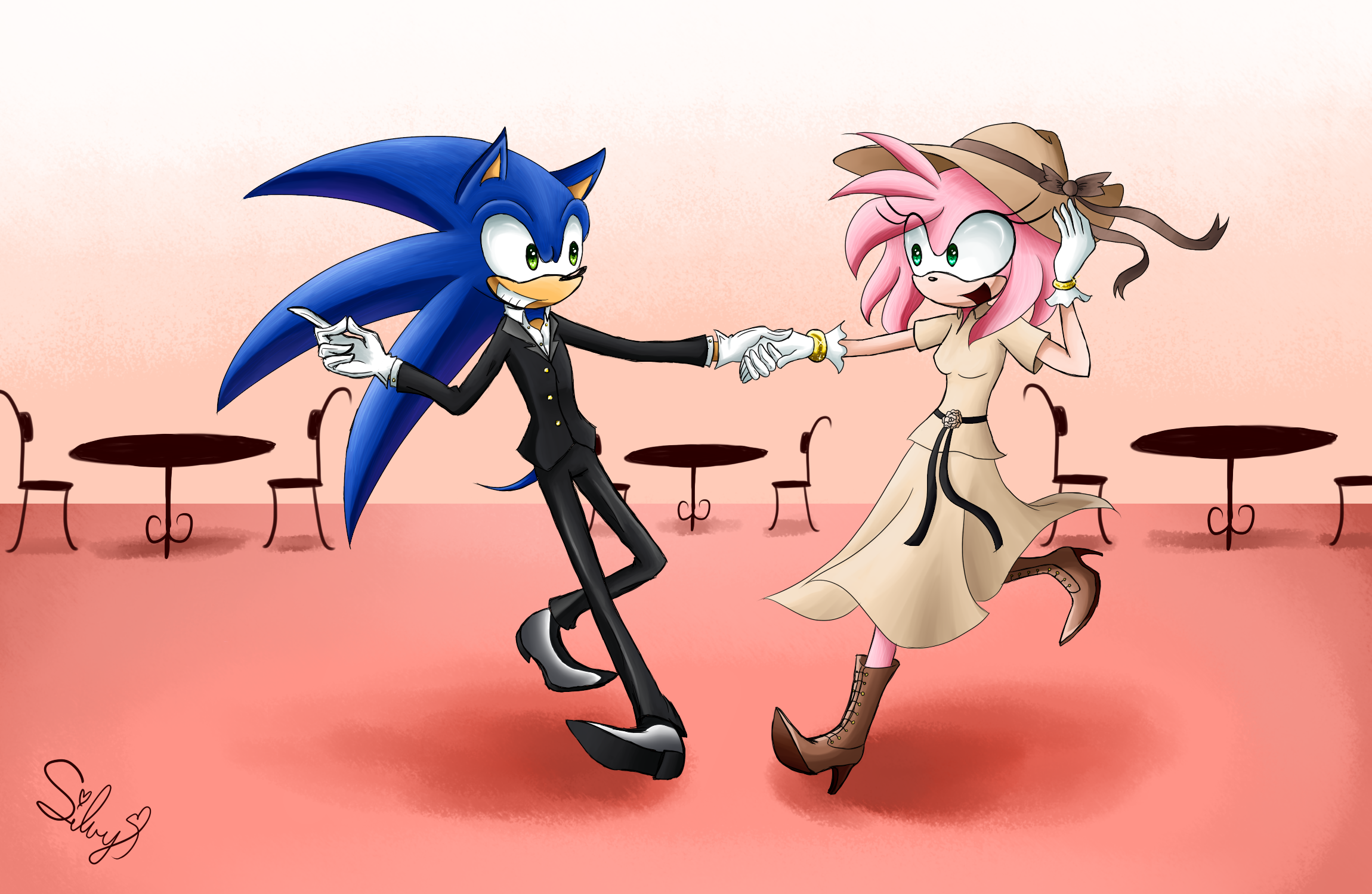 Sonamy - 40's dance + SpeedPaint by SweetSilvy