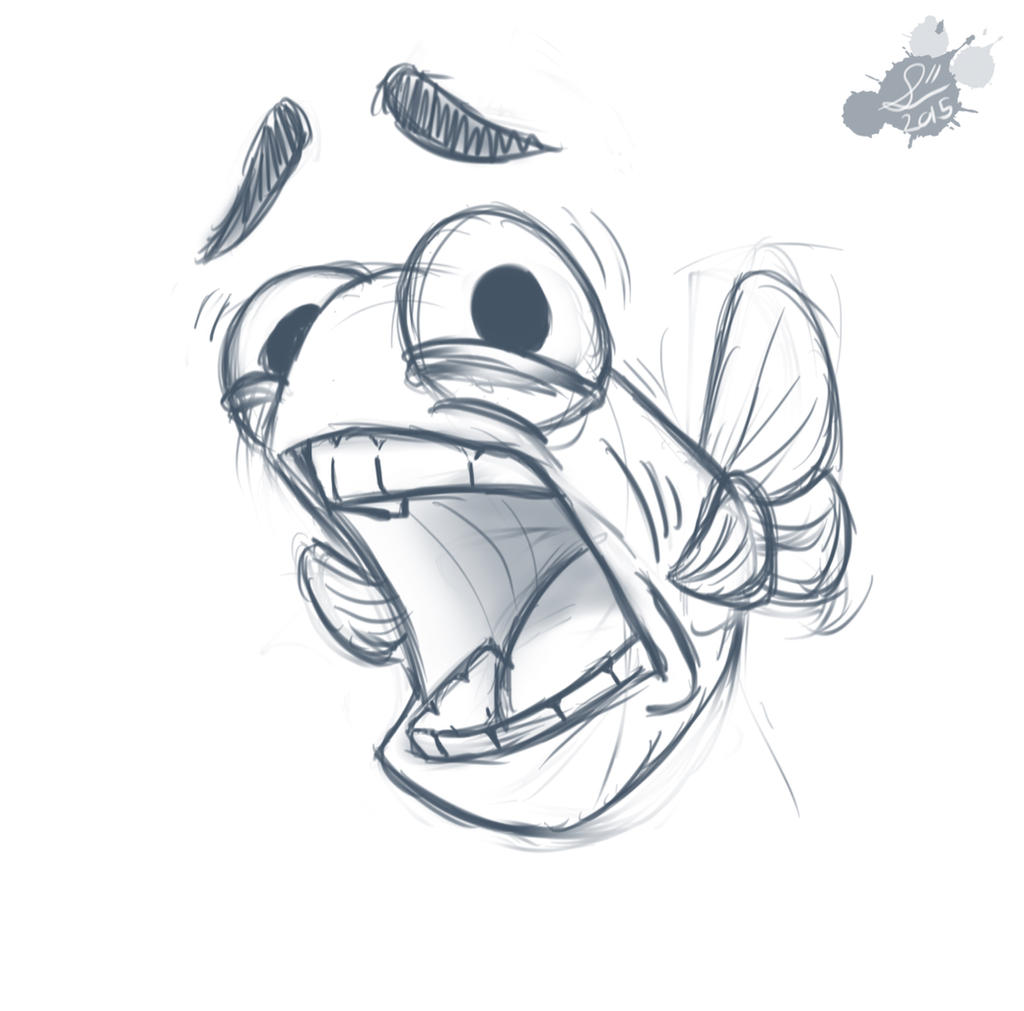 Scared fish doodle by spodness on deviantart for Cartoon fish drawing