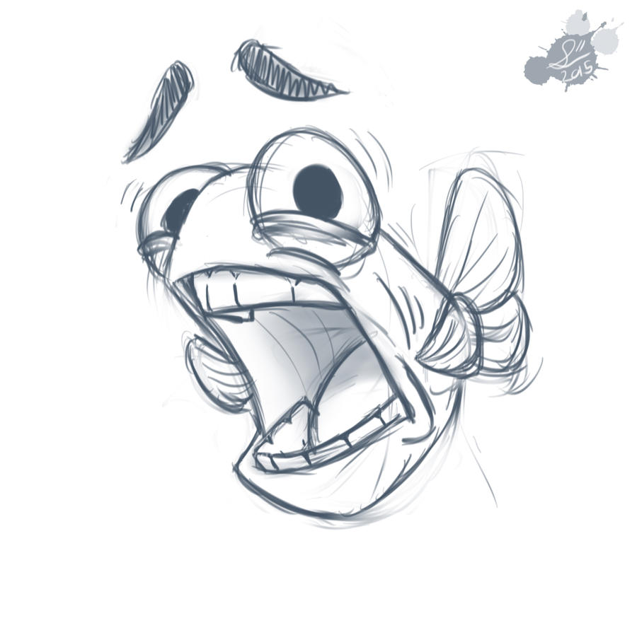 Scared fish doodle by spodness on deviantart for Drawings of fish