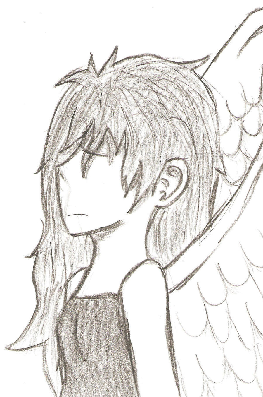 It's just a picture of Fan Sad Angel Drawing