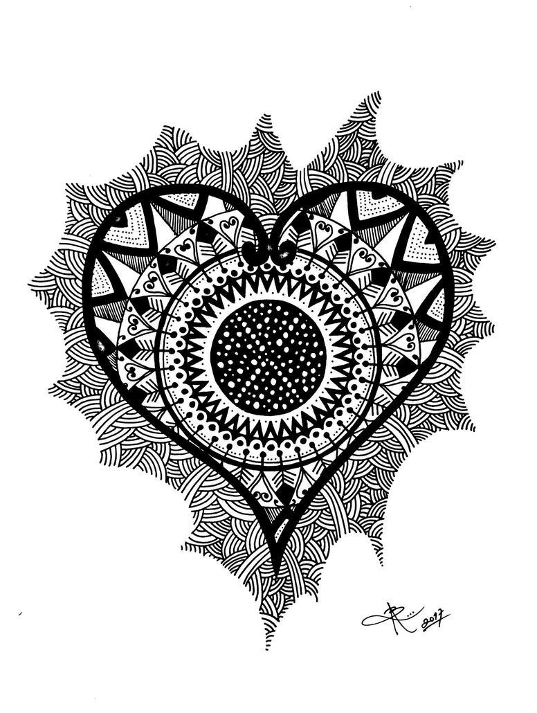 Zentangle heart/corazn  by ByVArte