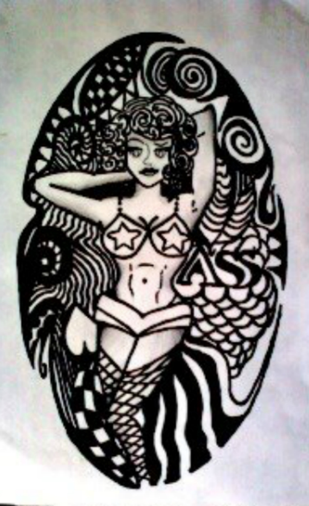 Pin up tattoo outline by octopusssy