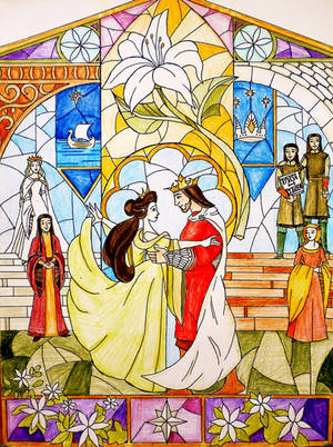 Aragorn and Arwen vitraux colored by annoulaki