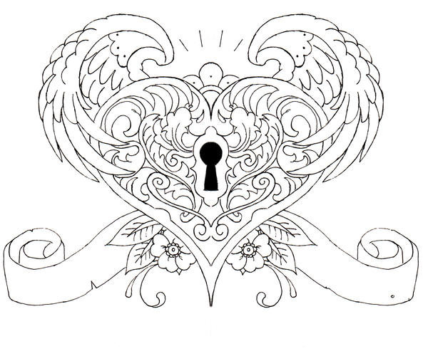 hearts tattoos coloring pages - photo#16
