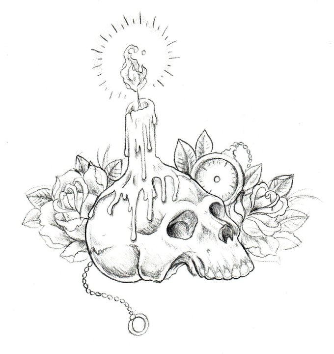 Gallery For gt Skull And Candle Drawing
