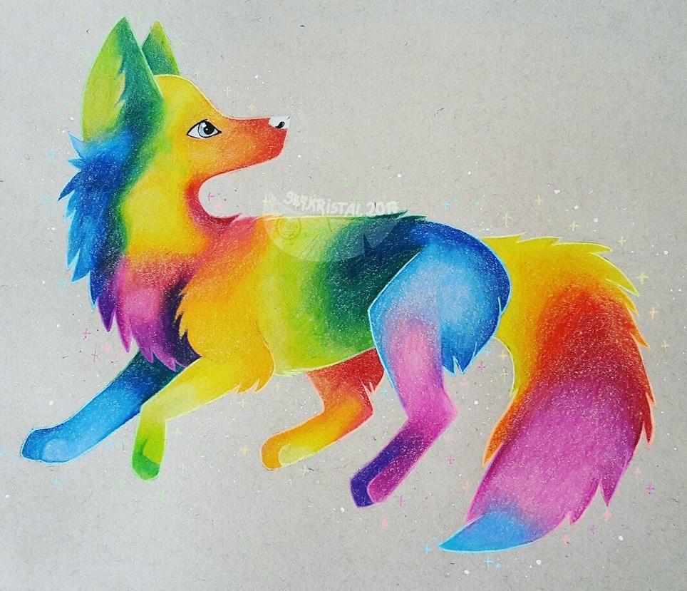 Rainbow Wolf Redraw By SkyKristal On DeviantArt