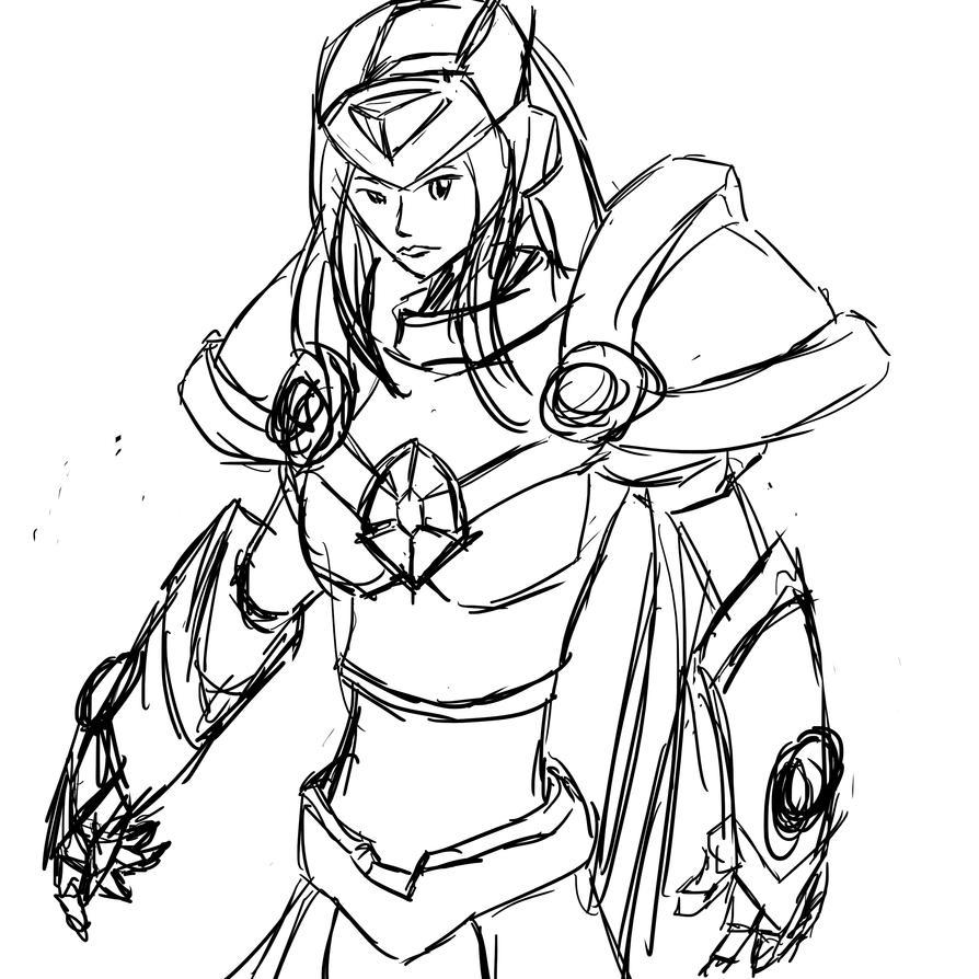 Crystal Maiden - reploid sketch by DarkRavage