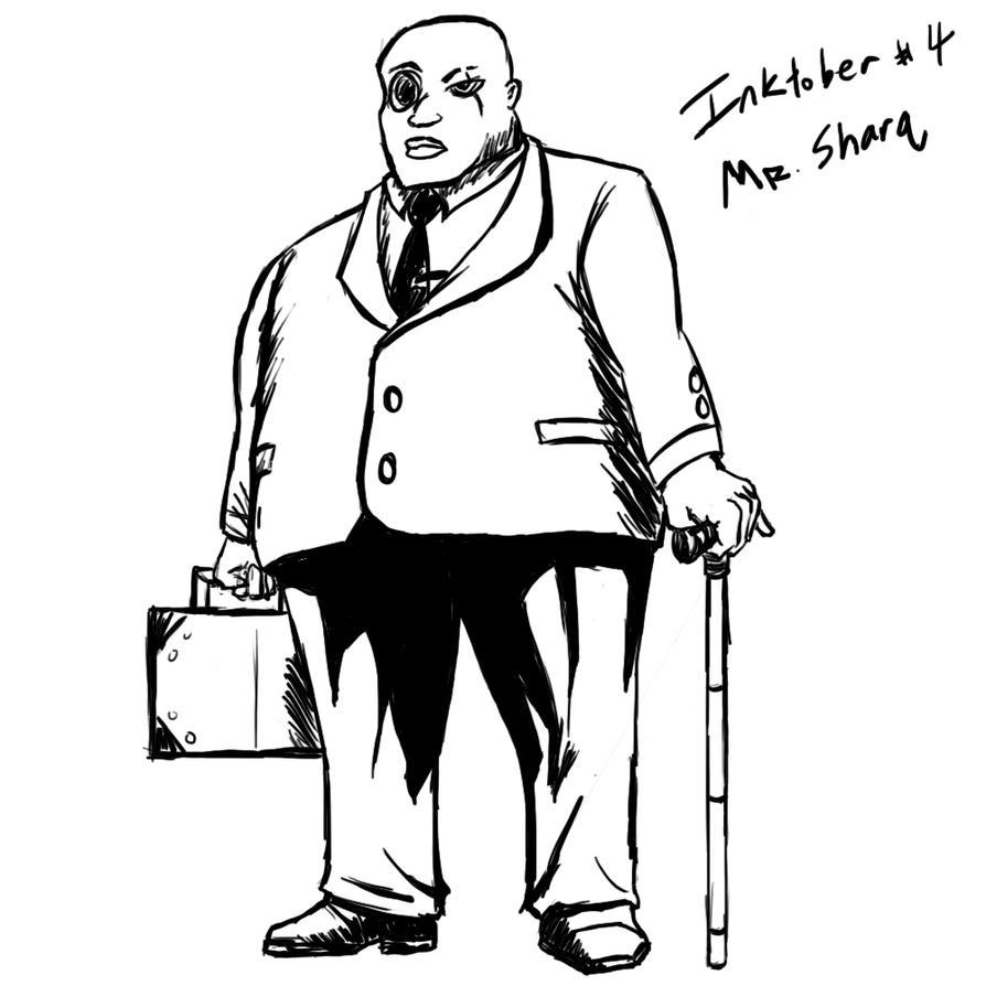 Inktober 04 Mr Sharq by DarkRavage