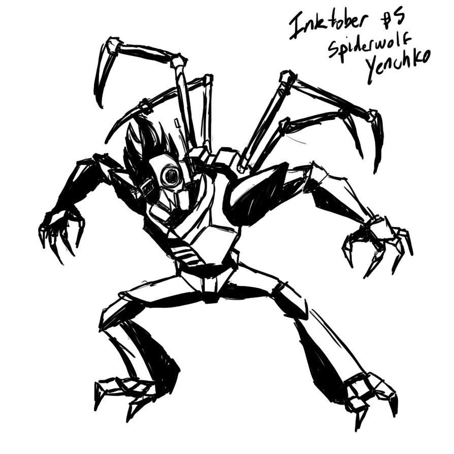 Inktober 05 Spiderwolf Yenchko by DarkRavage
