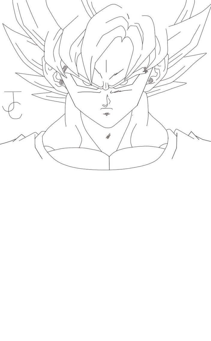 Goku super saiyan lineart by jamalc157 on deviantart for Goku super saiyan 5 coloring pages