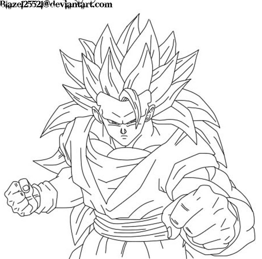 Goku ssj3 lineart by jamalc157 on deviantart for Goku coloring page