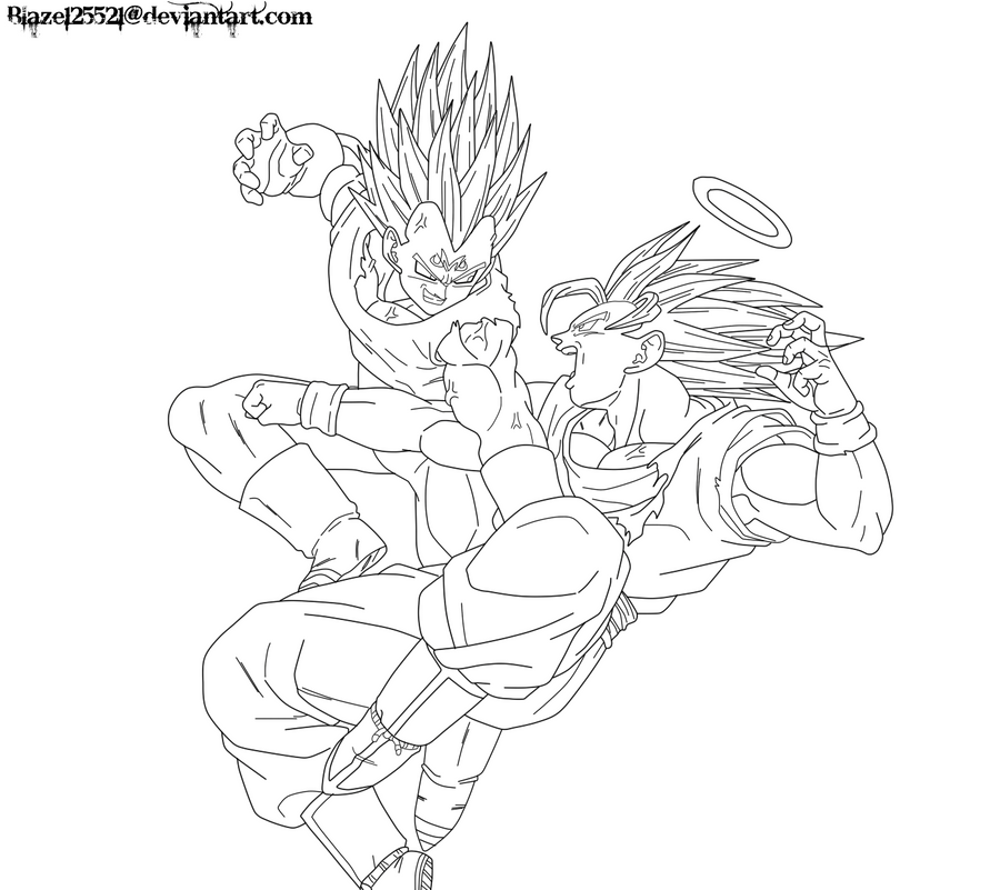 Goku vs. Majin Vegeta Lineart by JamalC157 on DeviantArt