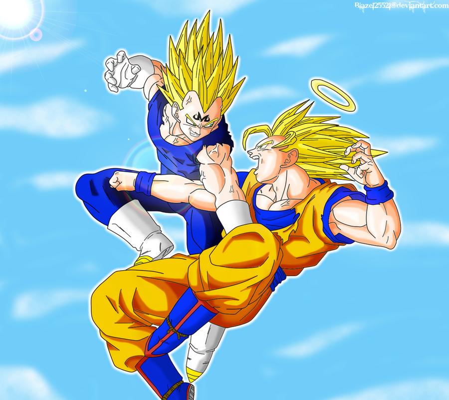 Goku vs. Majin Vegeta Colored by JamalC157 on DeviantArt