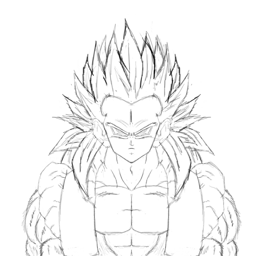 gotenks coloring pages - trunks fuse vegtea free colouring pages