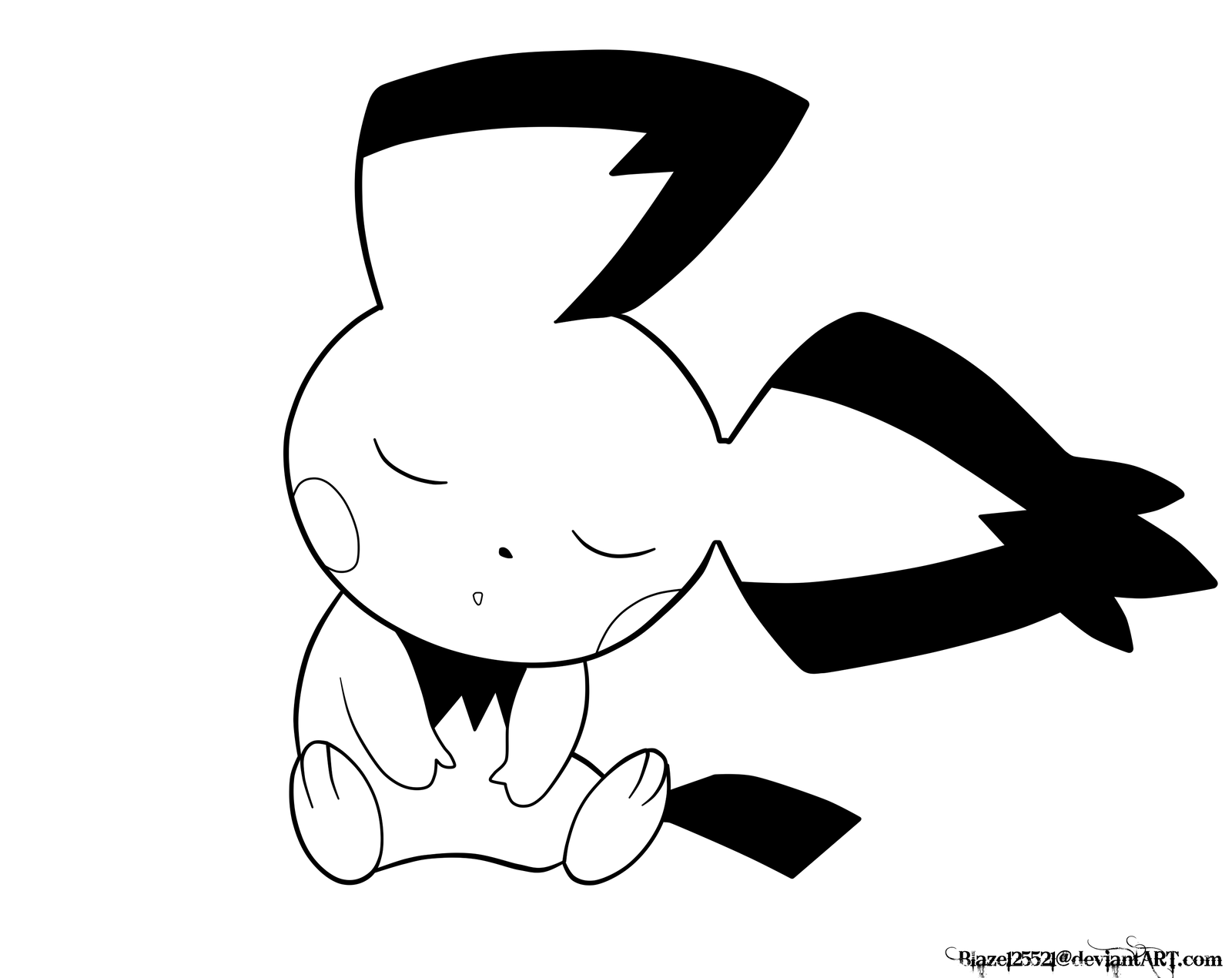 Sleeping Pichu Lineart by JamalC157 on DeviantArt