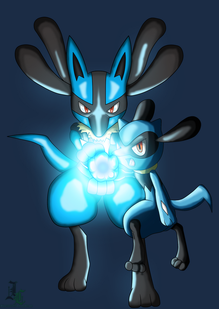 Lucario and Riolu Aura Sphere Colored by JamalC157 on ...