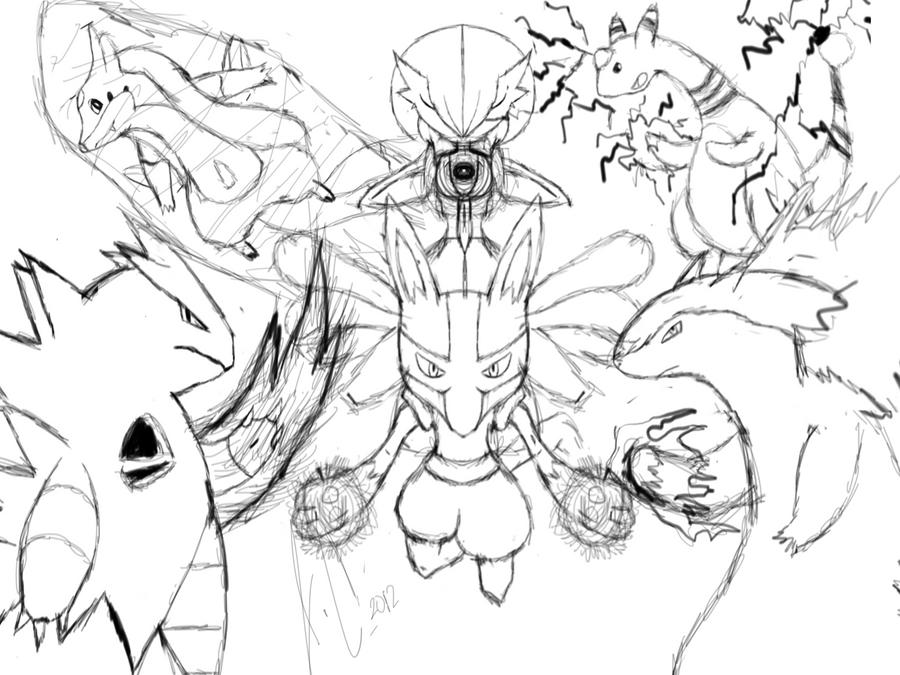 my 2nd pokemon team sketch by jamalc157 on deviantart